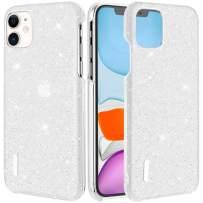 Caka iPhone 11 case, iPhone 11 Glitter Case Shiny Diamond Sparkle Bling Luxury Crystal Rhinestone for Girls Women Slim Protective Case for iPhone 11 6.1inches (White)