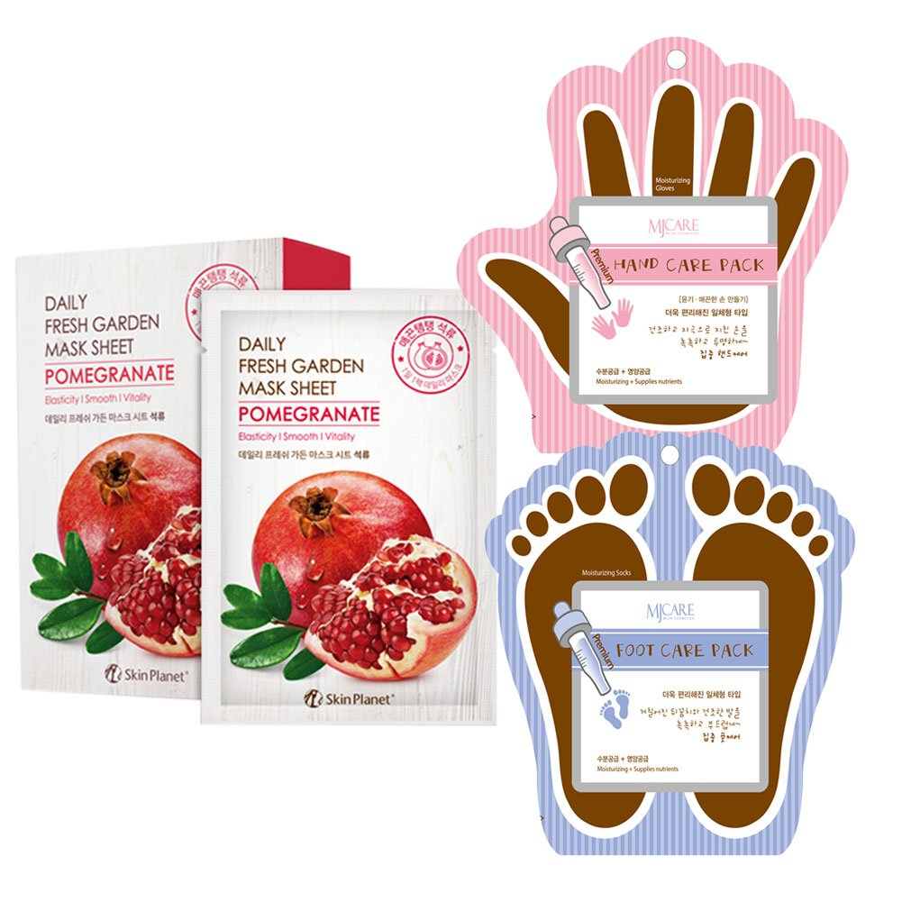 The Elixir Korean Beauty Cosmetic Skin Planet Fresh Garden Tencel Pomegranate Face Mask Sheet with Hand, Foot Care Mask Pack, Total 20 Packs (10-Face, 5-Hand,5-Foot)