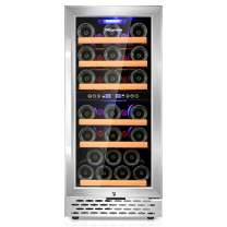 Nictemaw Wine Cooler Dual Zone Wine Fridge, Fast Cooling Low Noise Beverage Refrigerator, 15''/32 Bottles Wine Refrigerator with Digital Temp Control Screen (40°F-65°F) Ideal for Wine/Beer/Soda/Water Built-in or Freestanding Style