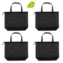 4Pack Reusable Shopping Mesh Gift Tote Bags,Mesh Beach Bags With Drawsting For Kid's Toys,Travel,Picnic Or Laundry