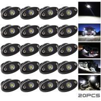 LEDMIRCY LED Rock Lights White 20PCS Kit for JEEP Off Road Truck RZR Auto Car Boat ATV SUV Waterproof High Power Neon Trail Rig Lights Shockproof/Pack of 20,White