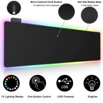 RGB Gaming Mouse Pad, Airgoo Large Extended Soft Led Mouse Pad with 15 Lighting Modes 2 Brightness Levels, Computer Keyboard Mousepads Mat 800 x 300mm / 31.5×11.8 inches