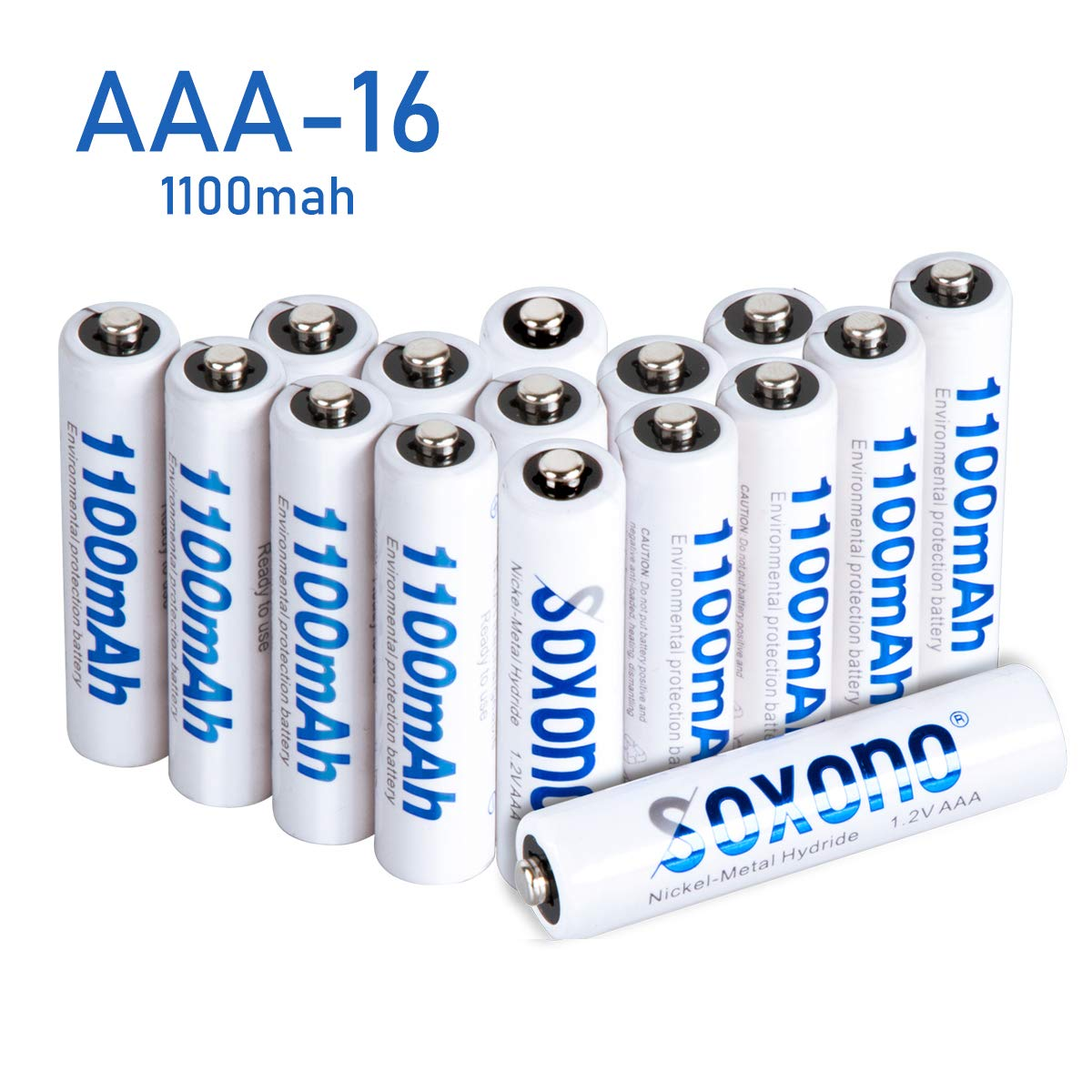 AAA Batteries Rechargeable,Sonoxo AAA Batteries(16 Pack) High Capacity 1100mAh Battery Pack with Low Self Discharge