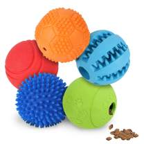 Slopehill 5 Interactive Dog Toys Balls for Small Medium Large Dogs, Dog Puzzle Toys for Boredom, Durable Squeaky Balls IQ Treat Ball Dog Chew Toys, Nontoxic Bite Resistant Toy Balls Treat Dispenser