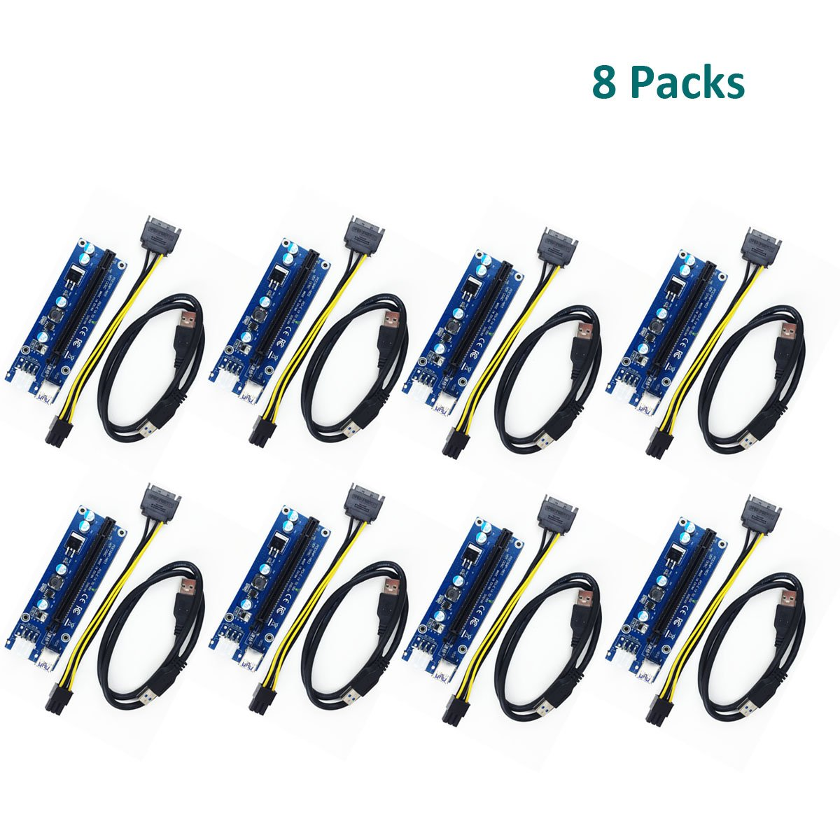 glotrends 8-Pack PCI-E Riser Board Adapter Card for Cryptocurrency Mining BTC ETH Rig Ethereum, USB 3.0 to PCI-E 16X, 70cm USB 3.0 Extension Cable, 6-Pin PCI-E SATA Power Cable (SQKZ-C8T)