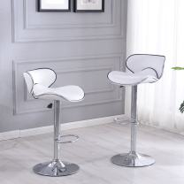 BELLEZE Modern Retro Adjustable White Faux Leather Swivel Bar Stools Chairs w/Footrest, Sets of 2