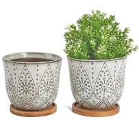 Generous Ceramic Planter Large Succulent Planter Flower Pot Indoor Plant Container Succulent Bowl with Bamboo Tray Set of 2