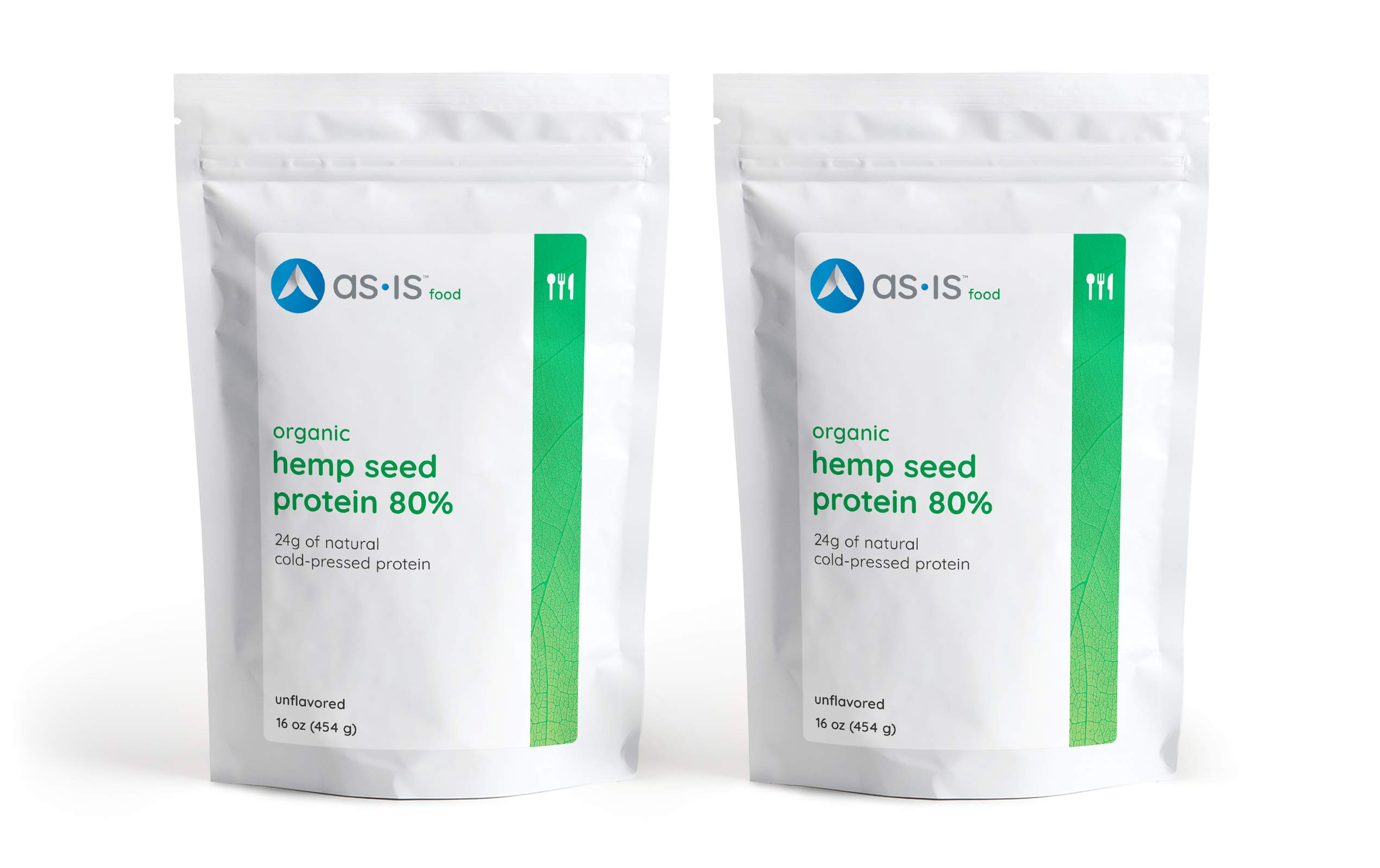 as-is Organic Hemp Seed Protein Powder 80%, Plant-Based, Non-GMO, Unflavored, 16oz (Pack of 2)
