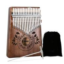 UNOKKI Mahogany Kalimba 17-Key Thumb Piano with Instruction Book and Tuning Hammer – Portable Personal Musical Instrument for Kids and Adults, Beginners to Professionals – Color: Chocolate Brown