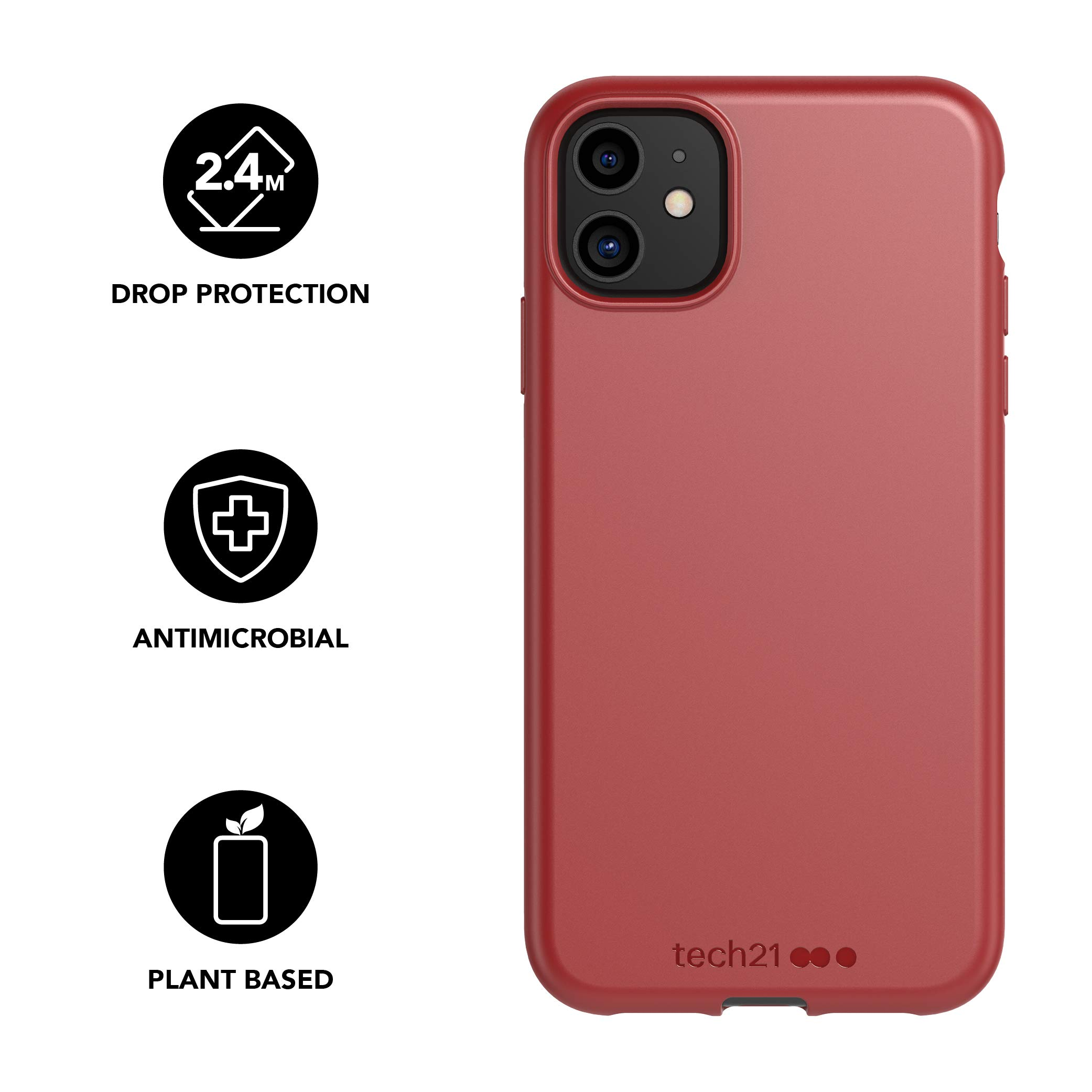 tech21 Studio Colour Mobile Phone Case - Compatible with iPhone 11 - Slim Profile with Anti-Microbial Properties and Drop Protection, Terra Red