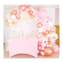 Shimmer and Confetti 140 Pack Premium Balloon Arch and Garland Kit, 16 Foot Tape, Pump, Pink, Peach, White, Rose Gold, 10 Confetti, Glue. Party Decoration for Birthday, Baby, Bridal Shower, Wedding