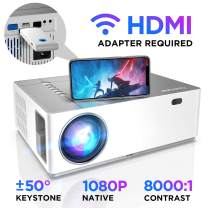 BOMAKER Native 1080p Full HD Projector, 6500 Lux, 8000:1 Contrast Ratio, 50% Zoom Out, ±50°Horizontal & Vertical Keystone, 300'' Display, Compatible with TV Stick, Android, iOS, HDMI, PC, PS4