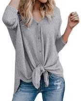 Chuhee Women's S-3XL Button Down Blouse Shirt Tie Knot Thermal Tops Gray 3XL