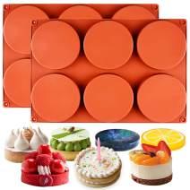 FUNSHOWCASE Round Disc Baking Silicone Mold 6-Cavity, 4inch, Circle Epoxy Resin Tray, Chocolate Cake Pie Custard Tart Muffin Sandwiches Eggs Bakeware, Soap Concrete Cement Plaster Pan, 2-Bundle