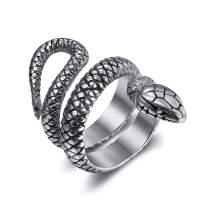 HIIXHC Snake Ring for Men Women - Stainless Steel Vintage Retro Snake Rings Gothic Jewelry Fashion Animal Personality Statement Biker Ring Size 6,7,8,9,10
