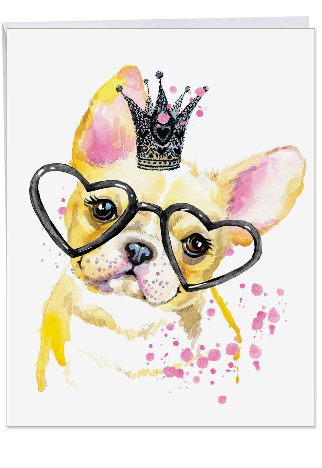Funky Colorful Creature Dogs - Watercolor Birthday Card with Envelope (Large 8.5 x 11 Inch) - Colorful French Bulldog Pet, Animal Greeting Cards for Kids, Adults - Bday Appreciation Card J6749ABDG