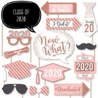 Big Dot of Happiness Rose Gold - 2020 Graduation Party Photo Booth Props Kit - 20 Count