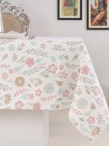 Table Cloth, 100% Cotton, Rectangular Table Cloth of Size 52X70 Inch, Eco - Friendly & Safe, Pink Spring Fields Design for Kitchen