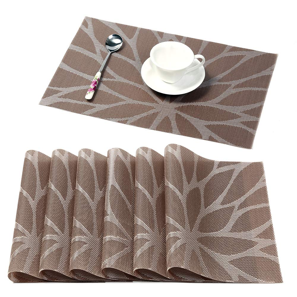 HEBE Placemats for Dining Table Set of 6 Heat Insulation Stain Resistant Kitchen Table Mats Non Slip Woven Vinyl Placemat Wipe Clean(6, Brown)