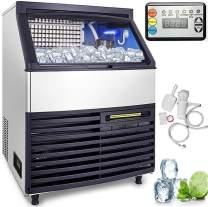 Happybuy Ice Making Machine 286lb per 24h 99lbs Storage Capacity 6x18 Cubes Commercial Ice Maker Ice Maker Cube Machine 750W Stainless Steel for Supermarkets Restaurants with Scoop Connection Hoses