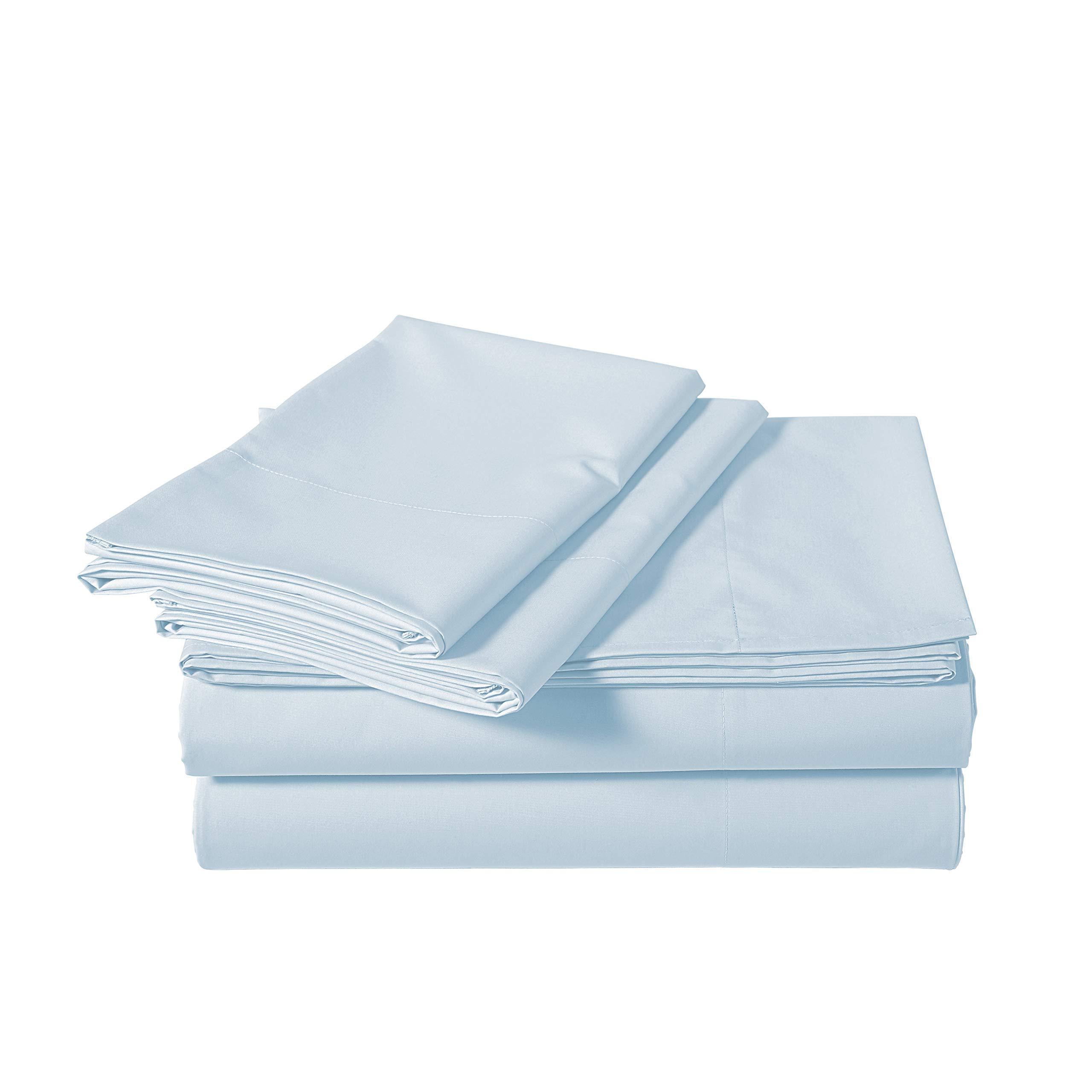 AmazonBasics Lightweight Percale Cotton Sheet Set - King, Blue Pastel