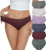 Cotton Hipster Panties for Women Lace Hiphugger Panties Bikini Underwear Pack