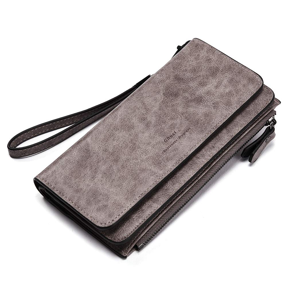 CLUCI Wallets for Women Soft Oil Wax Leather Ladies Wristlet Clutch Purse Slim Trifold Multi Card Organizer