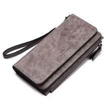 CLUCI Wallets for Women Soft Oil Wax Leather Ladies Wristlet Clutch Purse Slim Trifold Multi Card Organizer