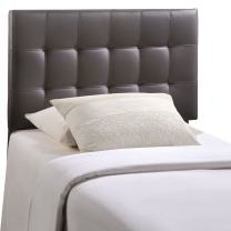 Modway Lily Tufted Faux Leather Upholstered Twin Headboard in Brown