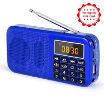 PRUNUS J-725C Portable Mini FM Radio Speaker Music Player USB Drive TF Card with LED Display, Alarm Clock, 3000 Rechargeable Battery, NO AM(Blue)