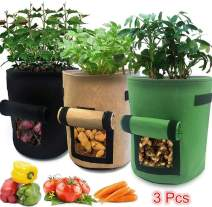 VANUODA 3 Pack Potato Grow Bags,Garden Boxes,Gardening Plant Growing Bags Bed,Tomato,Carrot Vegetable Planter Container with Window Handles Flap Bottom Holes for Optimum Root Growth (4 Gallon)