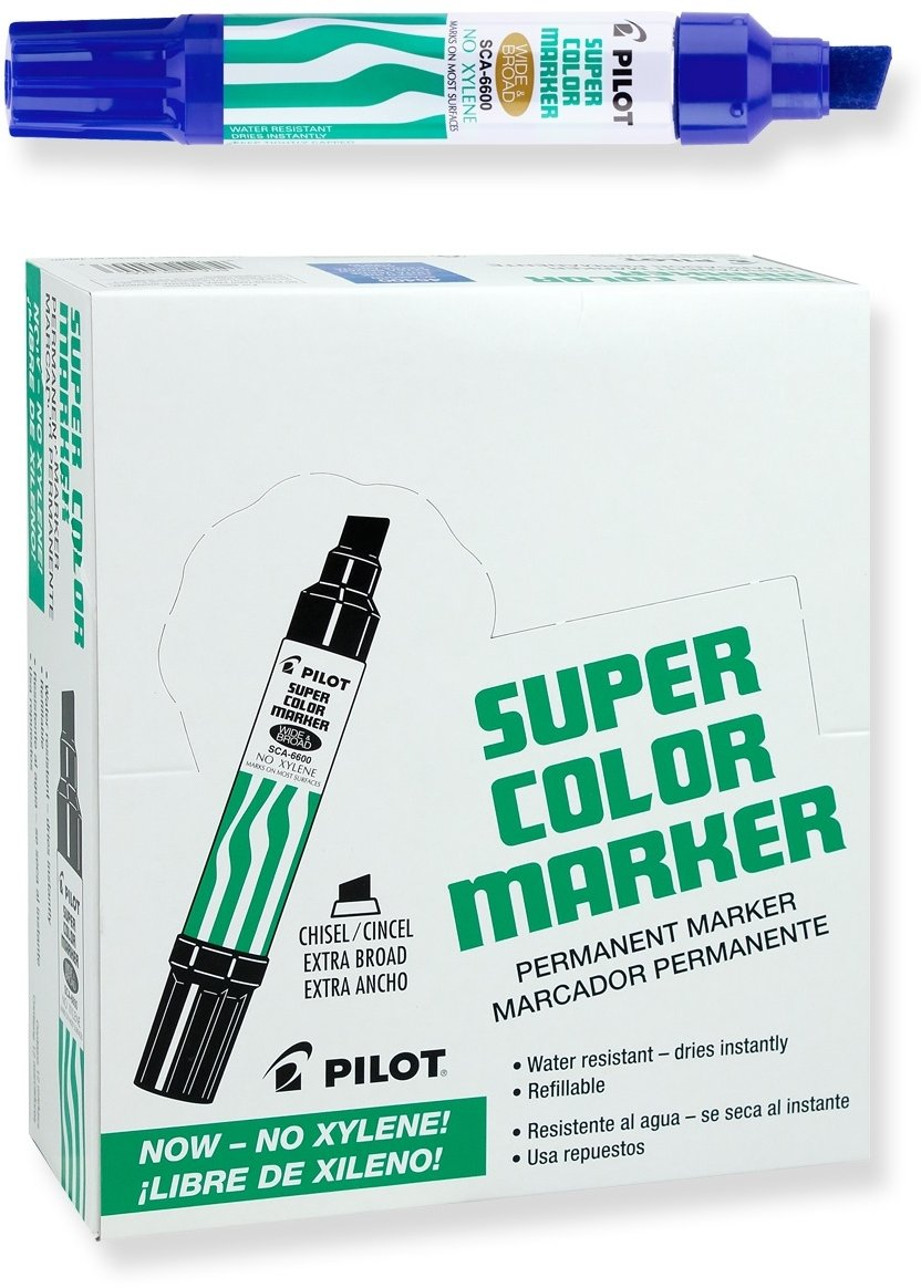 PILOT Super Color Jumbo Refillable Permanent Markers, Xylene-Free Blue Ink, Extra-Wide Chisel Point, 12 Count (45200)