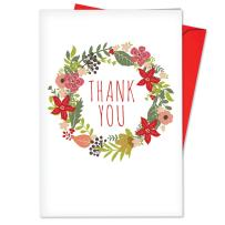 12 Boxed 'Watercolor Wreaths Thank You Blank' Christmas Cards with Envelopes 4.63 x 6.75 inch, Set of Season's Greetings Cards, Whimsical Colorful Illustrated Floral Christmas Wreaths B6653AXTB