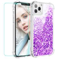 Maxdara Case for iPhone 11 Pro Max Case Glitter Liquid for Girls Women (Screen Protector) Bling Sparkle Luxury Fashion Soft TPU Protective Case for iPhone 11 Pro Max 6.5 inches (Purple)