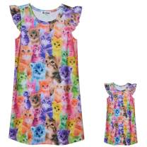 Matching Girls & Dolls Nightgowns Unicorn Clothes Flutter Sleeve Night Dress