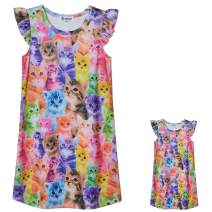 Matching Girls & Dolls Nightgowns Unicorn Clothes Flutter Sleeve Night Dress