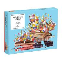 """Galison Blooming Books Shaped Jigsaw Puzzle, 750 Pieces, 28.3"""" x 21'' –  Flowers, Butterflies and Books – Die-Cut – Thick, Sturdy Pieces – Challenging and Fun – Fun Indoor Activity"""