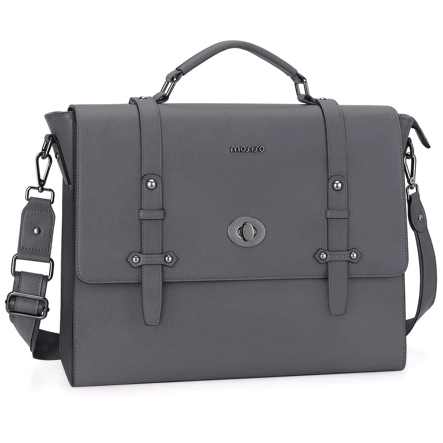 MOSISO 15.6 inch Laptop Messenger Shoulder Bag, Business Office Bag for Men Women, Water Resistant Premium PU Leather Carrying Briefcase with Middle Button Compatible with MacBook&Notebook, Space Gray
