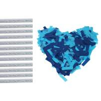 Gender Reveal Confetti Sticks 12Pack Blue Biodegradable Tissue Paper Flick Flutter Wands for Baby Boy Shower Party, 14inch