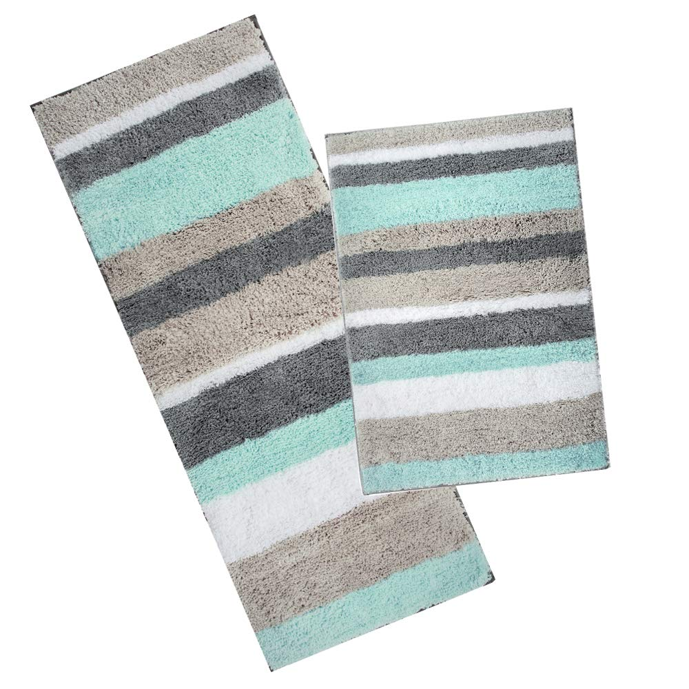 """HEBE Non-Slip Microfiber Bath Rug Mat and Runner for Bathroom Extra Soft Thick Bathroom Rug Floor Carpet Water Absorbent Machine Washable,26""""x18""""+48""""x18"""""""