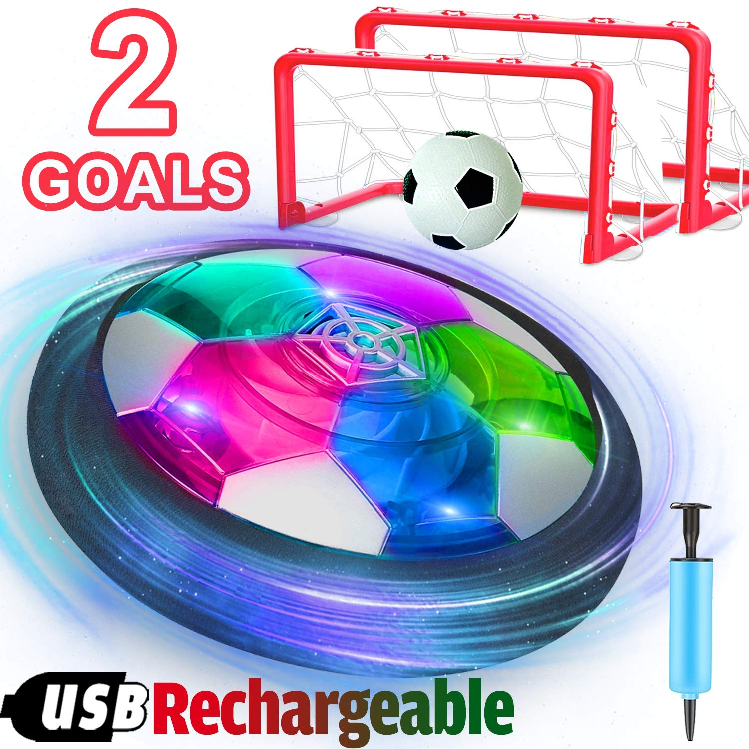 Kids Hover Soccer Ball Toys Rechargeable,Air Power Soccer Toy with 2 Goals Led Foam Bumper Indoor Outdoor Games Sports Soccer Ball Holiday Easter Birthday Gifts Boys Girls Toddlers Age 4 5 6 7 8 9