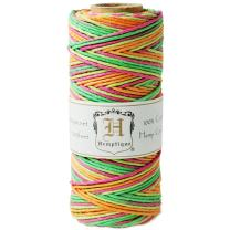 Hemptique 100% Hemp Cord Spool - 62.5 Meter Hemp String - Made with Love - No. 20 ~ 1mm Cord Thread for Jewelry Making, Macrame, Scrapbooking, DIY, & More - Variegated Neon