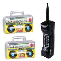 3PCS Inflatable Boombox and Mobile Phone - 80s 90s Party Supplies Decorations Cosplay Props - Rappers Hip Hop B-Boys Costume Accessory