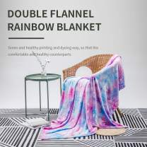 """COCOPLAY W Colorful Throw Blanket, Rainbow Throw Blanket Super Soft Fuzzy Light Weight Luxurious Cozy Warm Microfiber Blanket for Bed Couch Living Room (Purple Rainbow, Throw (50""""x60""""))"""