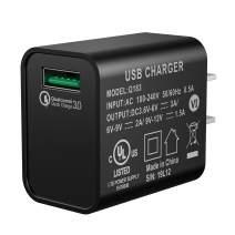 Quick Charge 3.0 Adapter, Seneo 18W Qucik USB Wall Charger for Wireless Charger, Charging Adapter for iPhone 11/Pro Max/XS XR/X/8/8P/iPad, Galaxy S10/S9/S8/Note 9/8 and More-Black