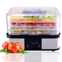 HAPPYGRILL Food Dehydrator Machine, Best Electric 5-Tier Home Food Meat Beef Jerky Fruit Vegetable Dehydrator Dryer Preserver, Professional 360 Degree Hot Air Circulation System, Easy to Clean(Black)