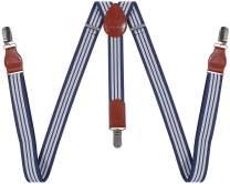 YJDS Mens Suspenders Classic Y Back 3 Clips Adjustable Elastic Heavy Duty