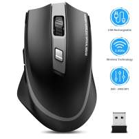 Wireless Mouse Rechargeable, TedGem 2.4G Silent Ergonomic Computer Mouse USB Mouse Laptop Full Size Optical Mouse with USB Receiver 6 Buttons 5 DPI Adjustable Portable Mice for Laptop/PC/Windows/Mac