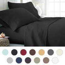 ienjoy Home Hotel Collection Luxury Soft Brushed Bed Sheet Set, Hypoallergenic, Deep Pocket, Queen, Black