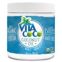 Vita Coco Organic Virgin Coconut Oil, 16 Ounces - Non GMO Cold Pressed Gluten Free Unrefined Oil - Use as Cooking Oil, Skin Moisturizer or Hair Shampoo